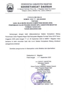 Pengumuman Hasil SKB kabupaten Magetan